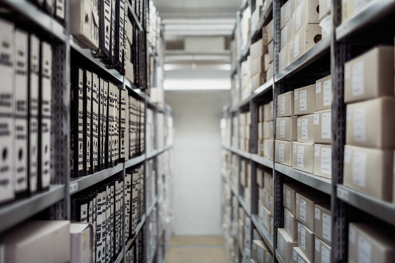 Archive storage boxes in a business