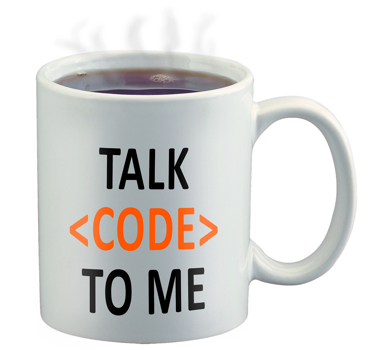 Coffee mug with words Talk Code to Me written on the side